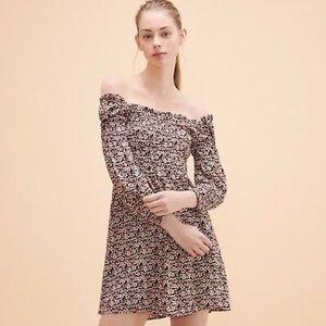 Maje Ranael Short Mini Crepe Floral Dress